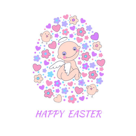 Easter concept card  Bright holiday background made of angel, flowers, birds and hearts in cartoon style in vector  Vector