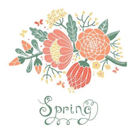 꽃이 만발한 분기 벡터 일러스트 레이 션 빈티지 카드 스톡 콘텐츠 - 27322728
