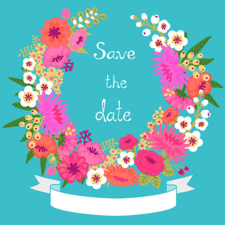 Vintage card with floral wreath  Save the date  Wedding invitation  Vector illustration  Vector