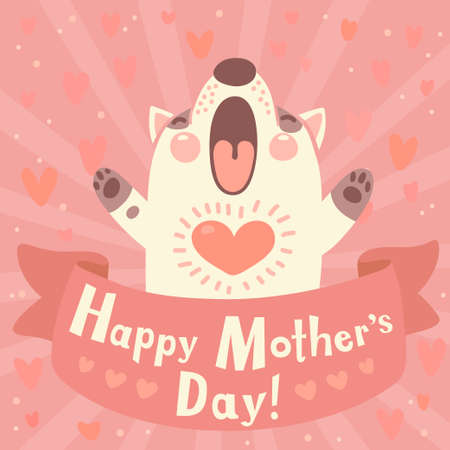 Greeting card for mom with cute puppy  Vector illustration  Vectores