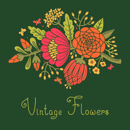 botanical drawing: Vintage flowers  Cute flower for design  Vector illustration