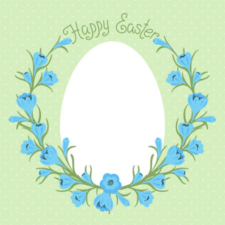 Vintage Happy Easter card with place for your text  Vector illustration  Vector