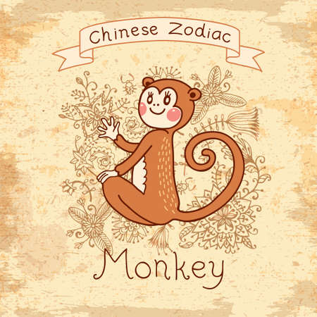 Vintage card with Chinese zodiac - Monkey  Vector illustration  EPS 10 Vectores
