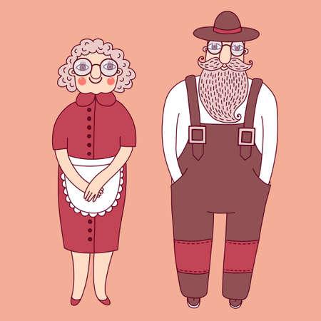 personas mayores: Pareja de ancianos. Abuelos. La abuela y el abuelo. Ilustración del vector.