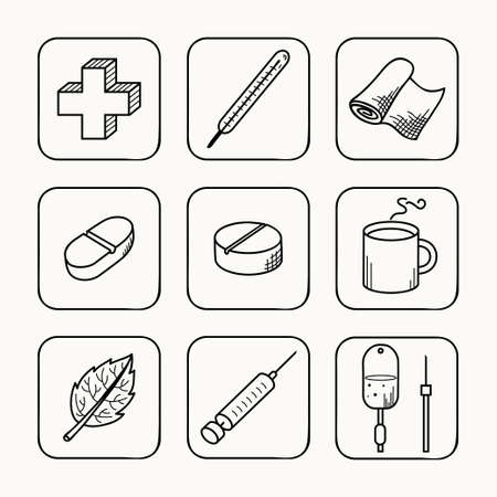 first aid: Sketches simple medical icons set  Vector illustration