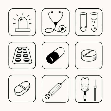 inoculation: Sketches simple medical icons set  Vector illustration