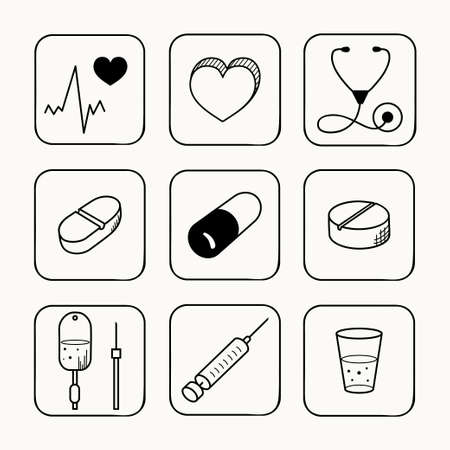 cardiogram: Sketches simple medical icons set  Vector illustration