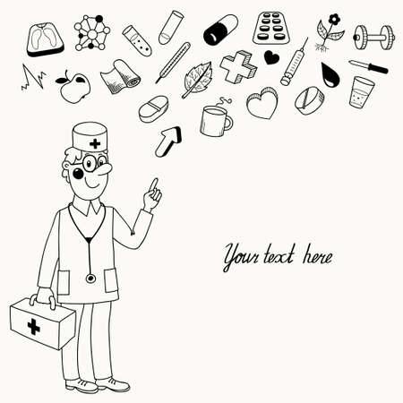 directives: Background with a doctor who gives directives  Vector illustration  Illustration