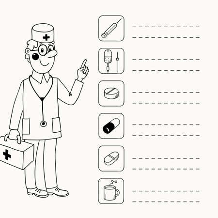 directives: Background with a doctor who gives directives - Medications  Vector illustration