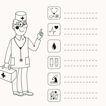 directives: Background with a doctor who gives directives - Analyses and testing  Vector illustration  Illustration