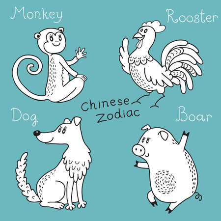 Set signs of the Chinese zodiac  Vector illustration