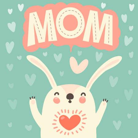 joyeux anniversaire maman carte de voeux pour la maman avec le lapin mignon illustration