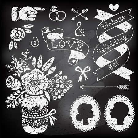 ramo de flores: Conjunto de elementos de dise�o de la boda de la vendimia