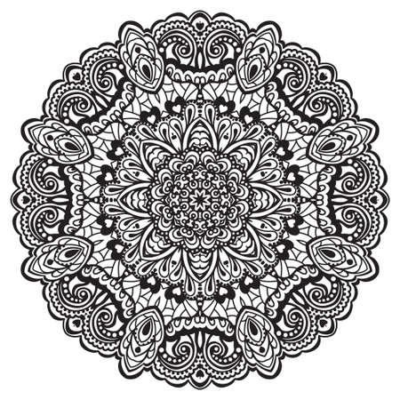 white napkin: Abstract Flower Mandala