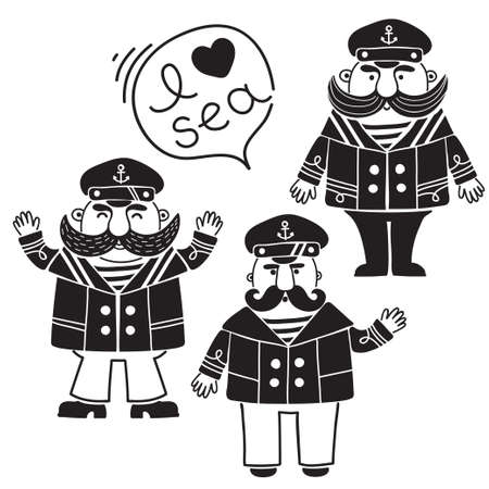 peaked cap: Captain marine vessel.  Illustration