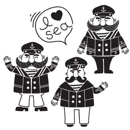 Captain marine vessel.  Illustration
