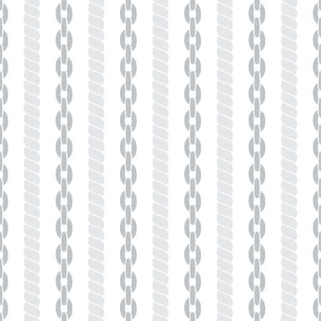 Seamless striped pattern in marine style with ropes and chains. Vector illustration. Vector
