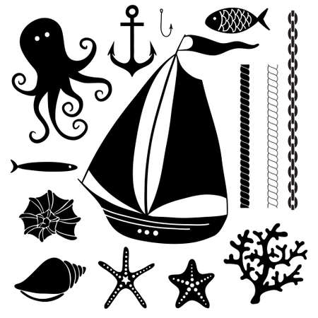 Silhouette Sea - Hand drawn set of sea symbols including sailing boat, octopus, fish, shells, coral Vector