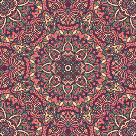 Oriental ornate seamless pattern. Ethnic bright seamless background. Vector illustration. Vector