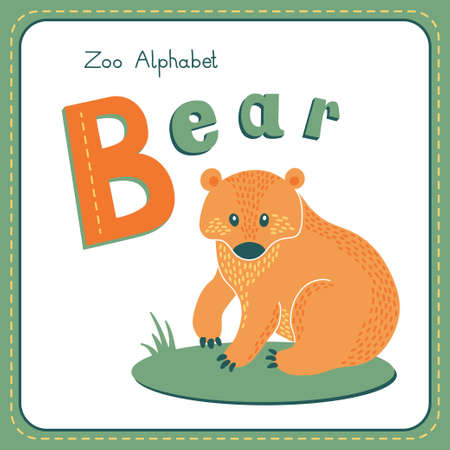Letter B - Bear. Alphabet with cute animals. Vector illustration. Other letters from this set are available in my portfolio. Vector