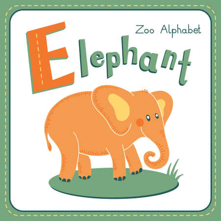 Letter E - Elephant. Alphabet with cute animals. Vector illustration. Other letters from this set are available in my portfolio. Vector