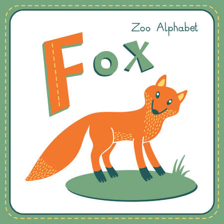 Letter F - Fox. Alphabet with cute animals. Vector illustration.Other letters from this set are available in my portfolio. Vector