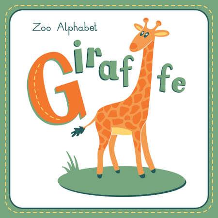 alfabeto con animales: Letra G - jirafa. Alfabeto con los animales lindos. Ilustración del vector. Otras cartas de este juego están disponibles en mi cartera.