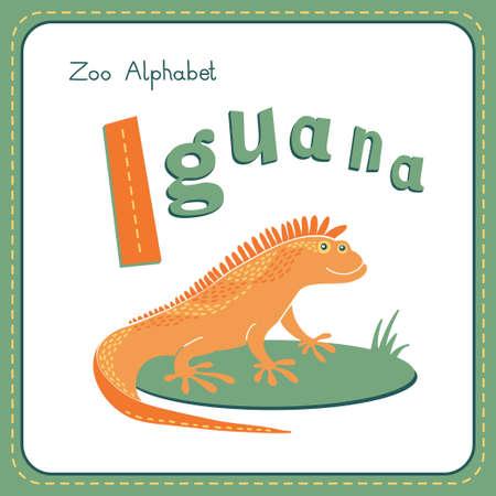 alfabeto con animales: Letra I - Iguana. Alfabeto con los animales lindos. Ilustración del vector. Otras cartas de este juego están disponibles en mi cartera.