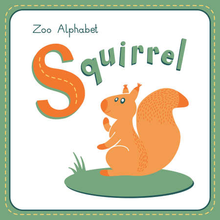 children s book: Letter S - Squirrel. Alphabet with cute animals. Vector illustration. Other letters from this set are available in my portfolio.