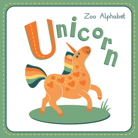 Letter U - Unicorn. Alphabet with cute animals. Vector illustration. Other letters from this set are available in my portfolio. Vector