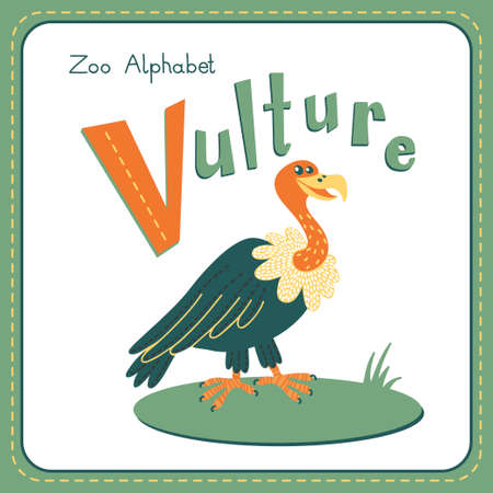 v alphabet: Letter V - Vulture. Alphabet with cute animals. Vector illustration. Other letters from this set are available in my portfolio. Illustration