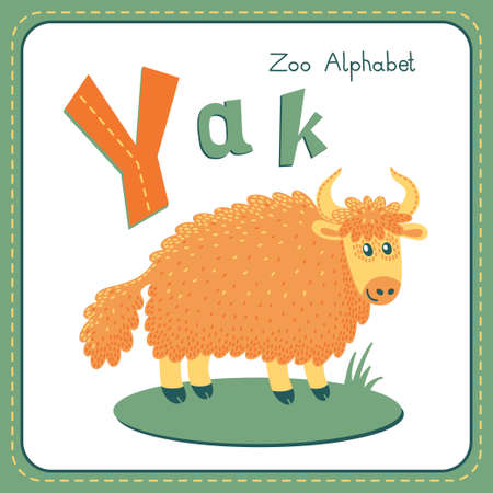 funny ox: Letter Y - Yak  Alphabet with cute animals  Vector illustration  Other letters from this set are available in my portfolio