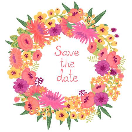 花の花輪とビンテージのカード  イラスト・ベクター素材
