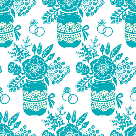 Vintage seamless pattern with a bouquet of flowers and wedding rings Vector