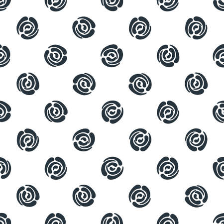 Seamless pattern with abstract roses. Seamless background with polka dots. Vector illustration. Vector
