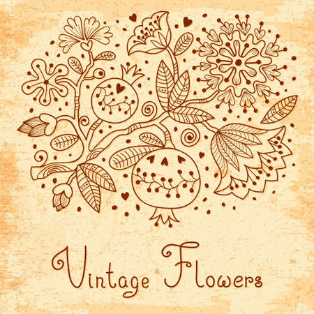 Vintage Festive card with flowers and pomegranate  Vector illustration  Vector