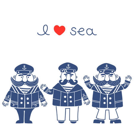 Captain marine vessel  Isolated silhouettes captains for your design  Vector illustration  Illustration