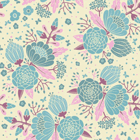 Seamless vintage pattern with decorative flowers. Vector illustration. Vector