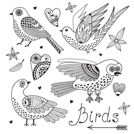 Vector set birds and hearts. Hand drawn elements for design. Illustration