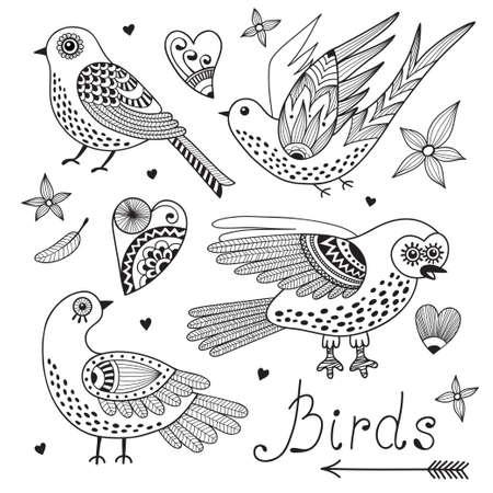 Vector set birds and hearts. Hand drawn elements for design. Ilustração