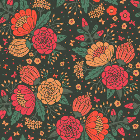 feminine background: Seamless vintage pattern with decorative flowers. Vector illustration. Illustration