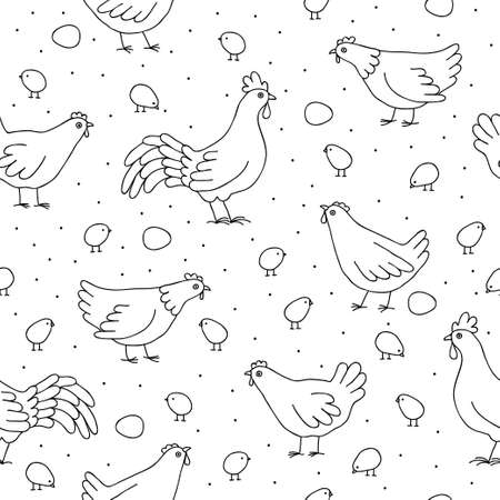 poult: Seamless pattern with chickens, roosters and chickens.