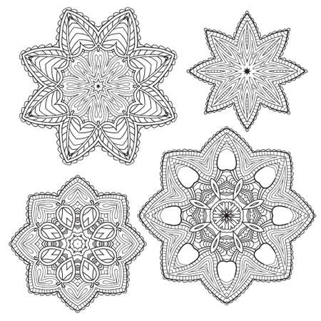 white napkin: Lacy ethnic ornament in a circle. Vector illustration.