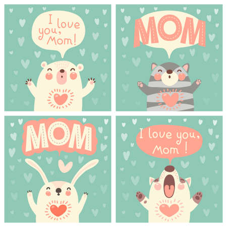 Greeting card for mom with cute animals. Vector