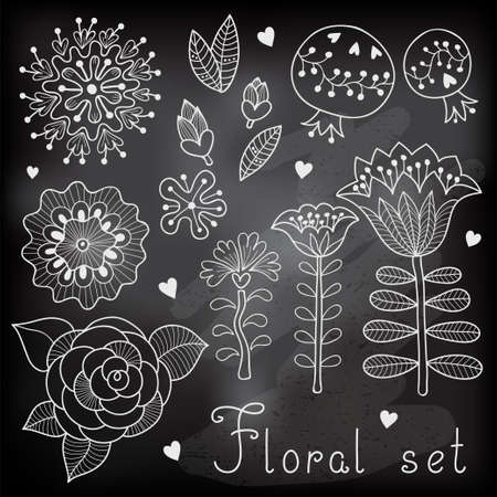 Set of floral elements isolated for your design. Vector illustration. Vector