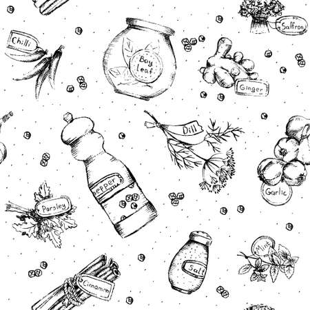 pepper mill: Seamless pattern of spices and herbs. Vector Illustration.