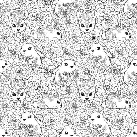 Vintage naadloze patroon met konijnen en bloemen.