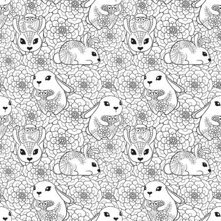 Vintage seamless pattern with bunnies and flowers.
