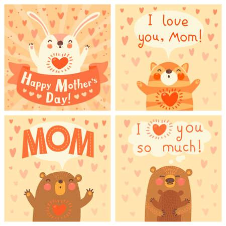 かわいい動物とお母さんのためのグリーティング カード。ベクトル イラスト。