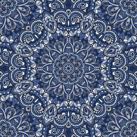 東洋の華やかなシームレス パターン。民族の明るいシームレスな背景。ベクトルの図。